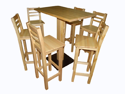 Gosantos fabrica de sillas de madera mesas taburetes bar mobilario de hosteleria - Mesa alta con taburetes ...